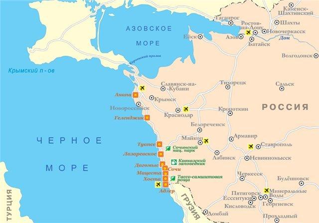 Карта курортов краснодарского края